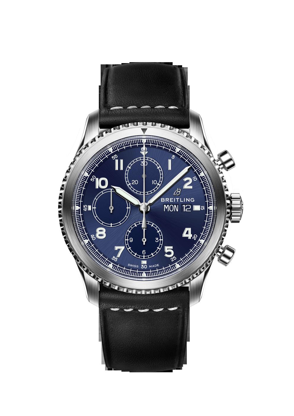 Breitling Navitimer 8 Chronograph mit blauem Zifferblatt und Lederband bei Juwelier Hungeling