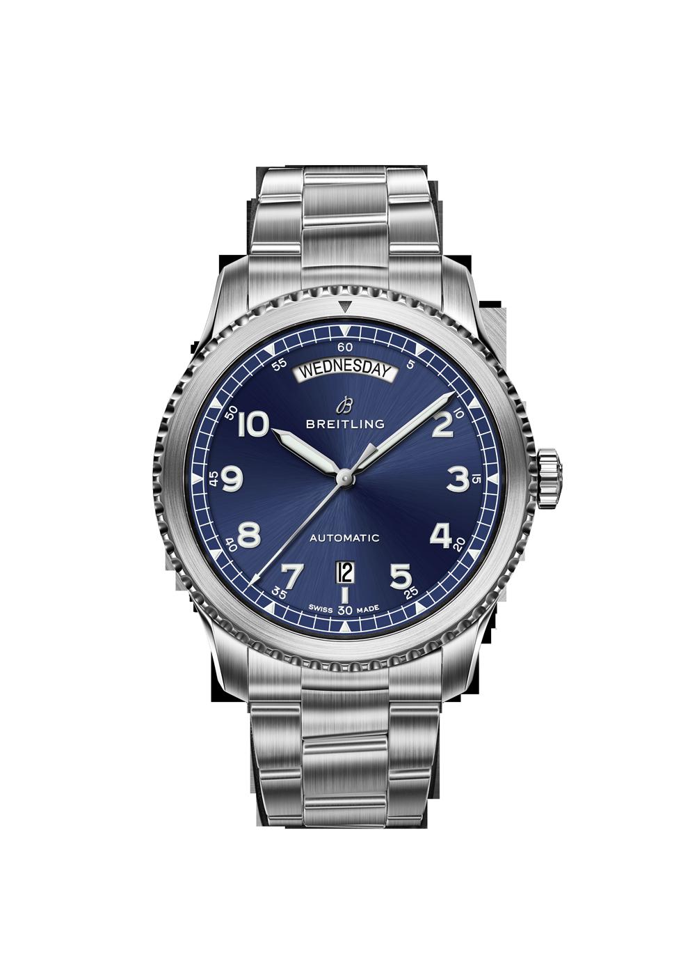 Breitling Navitimer 8 Day Date mit blauem Zifferblatt und Stahlband bei Juwelier Hungeling