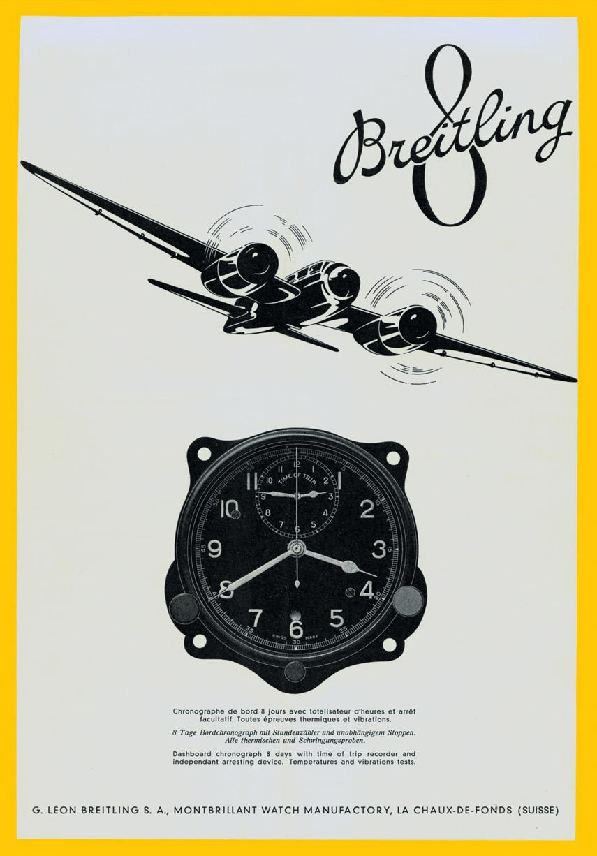 Breitling Werbung für das Huit-Aviation-Department