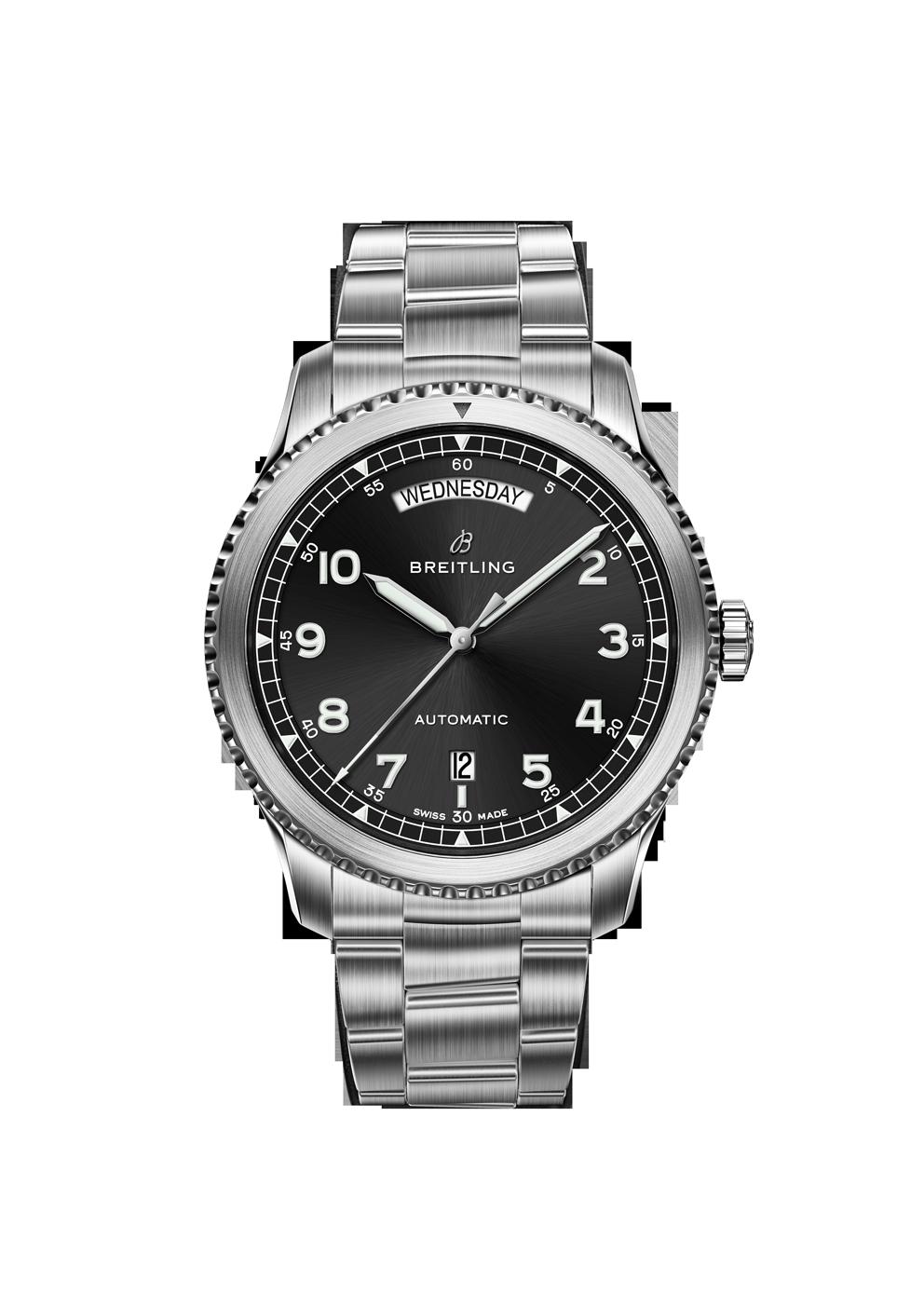 Breitling Navitimer 8 Day Date mit schwarzem Zifferblatt und Stahlband bei Juwelier Hungeling