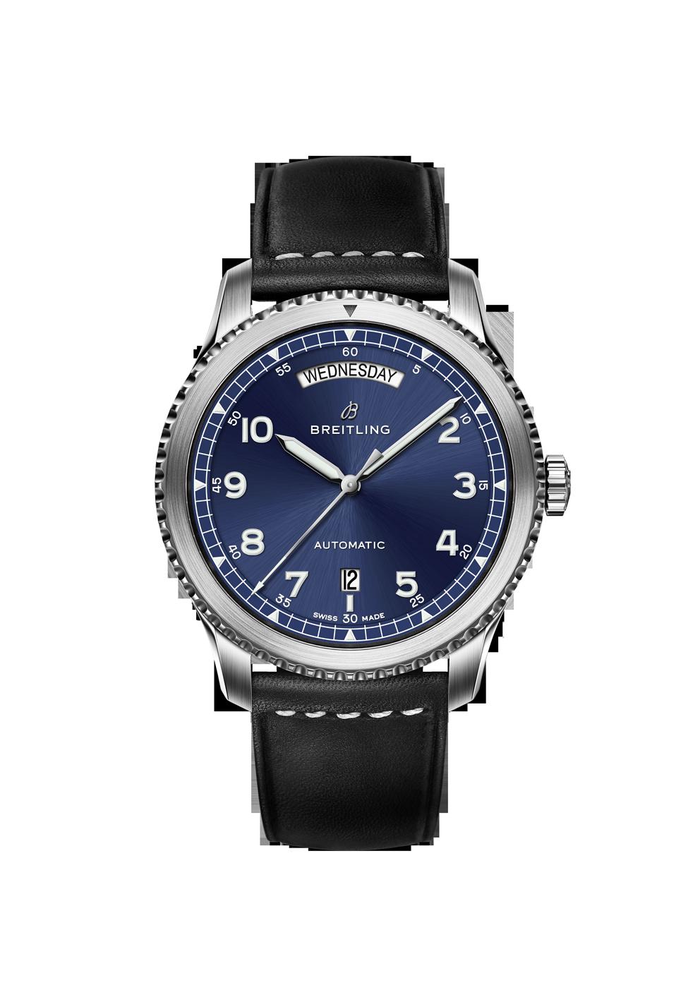 Breitling Navitimer 8 Day Date mit blauem Zifferblatt und Lederband bei Juwelier Hungeling