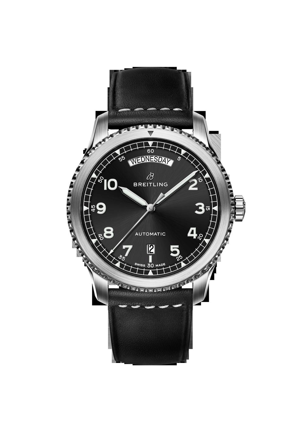 Breitling Navitimer 8 Day Date mit schwarzem Zifferblatt und Lederband bei Juwelier Hungeling