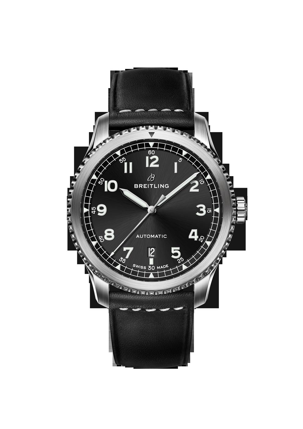 Breitling Navitimer 8 Automatic mit schwarzem Zifferblatt und Lederband bei Juwelier Hungeling